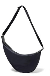 The Row Slouchy Banana Large Leather Trimmed Shell Shoulder Bag Navy