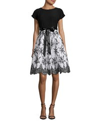 Chetta B Short Sleeve Lace Fit And Flare Dress