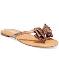 Inc International Concepts Women's Mabae Bow Flat Sandals Only At Macy's Women's Shoes Bronze