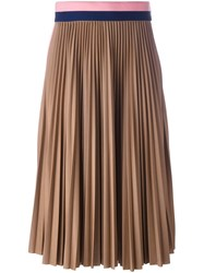 Msgm Pleated Midi Skirt Nude And Neutrals