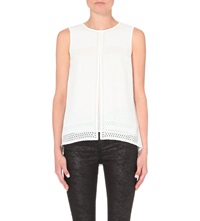 Karen Millen Laser Cut Sleeveless Crepe Top White