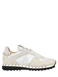 Valentino Camouflage And Suede Running Sneakers