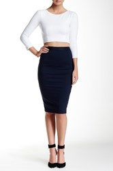 David Lerner Back Zipper Midi Skirt Blue