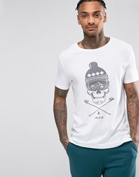 Asos Loungewear Longline T Shirt With Skull Print White