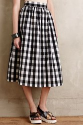Anthropologie Buffalo Plaid Midi Skirt Black And White