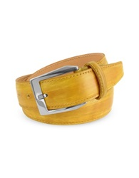 Pakerson Men's Yellow Hand Painted Italian Leather Belt