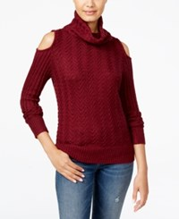 American Rag Juniors' Cold Shoulder Turtleneck Sweater Only At Macy's Zinfandel