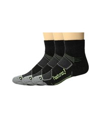 Feetures Merino Cushion Quarter 3 Pair Pack Charcoal Reflector Quarter Length Socks Shoes Black