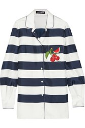 Dolce And Gabbana Appliqued Striped Silk Twill Shirt Navy