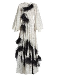 Roksanda Ilincic Audra Feather Embellished Fil Coupe Gown White Black