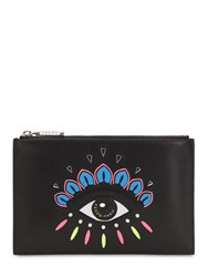 Kenzo Eye Embroidered Flat Leather Pouch Black