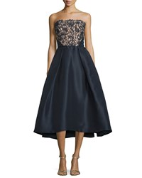 Monique Lhuillier Tea Length Lace Bodice Dress Navy