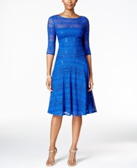 Sangria Sequined Illusion Lace Fit And Flare Dress Blue