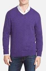 Men's Big And Tall Nordstrom Cashmere V Neck Sweater Purple Wisteria