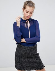 Traffic People High Neck Blouse With Tie Front Navy