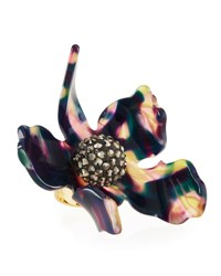 Lele Sadoughi Sculptural Crystal Lily Ring Bright Blue