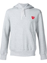 Comme Des Gara Ons Play Heart Application Hoodie Grey