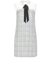 Miu Miu Mini Dress With A Bow Tie Grey
