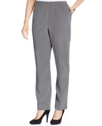 Alfred Dunner Petite Corduroy Straight Leg Pants Grey