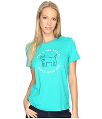 Life Is Good Wag Crusher Tee Bright Teal Women's T Shirt Blue