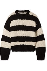 Rta Griffith Oversized Striped Cotton Blend Sweater Black