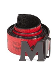 Mcm Monogram Coated Canvas And Leather Reversible Belt Ruby Red