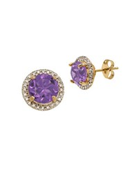 Lord And Taylor Andin Amethyst Diamond 14K Yellow Gold Earrings Purple