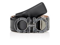 Salvatore Ferragamo Men's Double Gancini Buckle Leather Belt Black