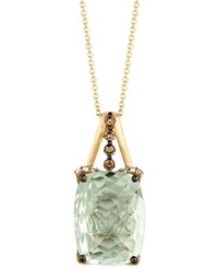 Le Vian Green Amethyst 9 3 4 Ct. T.W. Chocolate Diamond 1 4 Ct. T.W. And White Diamond Accent Pendant Necklace In 14K Gold