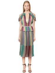 M Missoni Ruffled Lurex Knit Peplum Dress