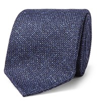 Drakes Drake's 8Cm Melange Wool Silk And Linen Blend Tie Navy