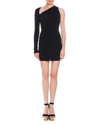 Balmain Suede Lace Up One Shoulder Dress Black