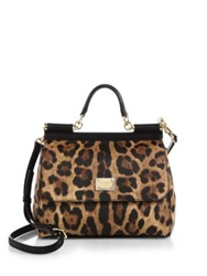 Dolce And Gabbana Sicily Medium Leopard Print Coated Canvas And Leather Top Handle Satchel