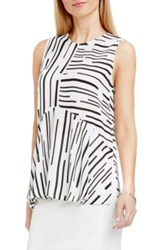 Vince Camuto Print Sleeveless Ruffle Front Blouse White