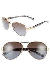 Tory Burch 57Mm Polarized Aviator Sunglasses Gold Brown Purple Polar