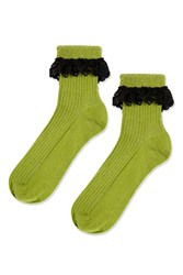 Topshop Lace Trim Ankle Socks Green