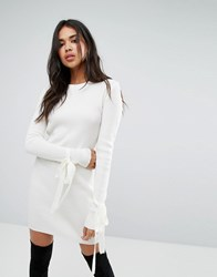 Boohoo Tie Cuff Rib Knit Dress Cream
