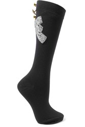 Dolce And Gabbana Embellished Wool Blend Socks Black