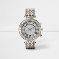 River Island Womens Silver Tone Glam Chain Strap Watch