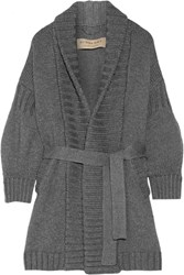 Burberry Belted Wool And Cashmere Blend Cardigan Anthracite