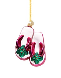 Lord And Taylor Holly Flip Flops Ornament Pink