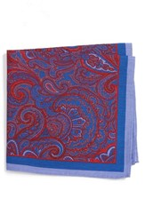 Calibrate Men's Paisley Cotton And Silk Pocket Square Red