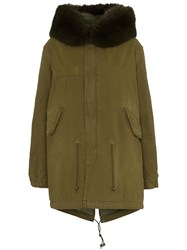 Mr And Mrs Italy Hooded Fur Trim Cotton Parka Green