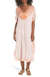 Echo Embroidered Cover Up Caftan Rose Pink