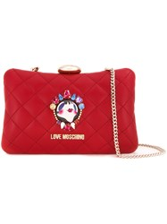 Love Moschino Face Pin Clutch Bag Red