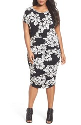 Vince Camuto Plus Size Women's Print Ruched Jersey Midi Dress