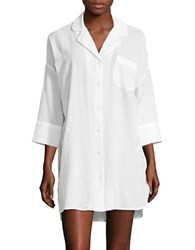 Lord And Taylor Cotton Solid Button Down Tunic White