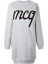 Mcq By Alexander Mcqueen Logo Patch Sweatshirt Dress Grey