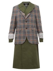 Junya Watanabe Check Jacket Overlay Cotton Blend Trench Coat Green Multi