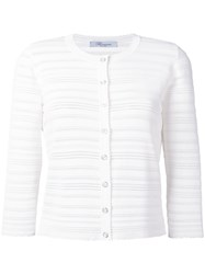 Blumarine Perforated Detail Cardigan White
